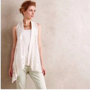 Meadow Rue Anthropologie Draped Lace Vest Cardigan